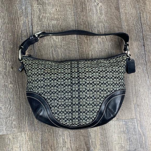 Coach Handbags - Coach black grey monogram canvas hobo shoulder bag